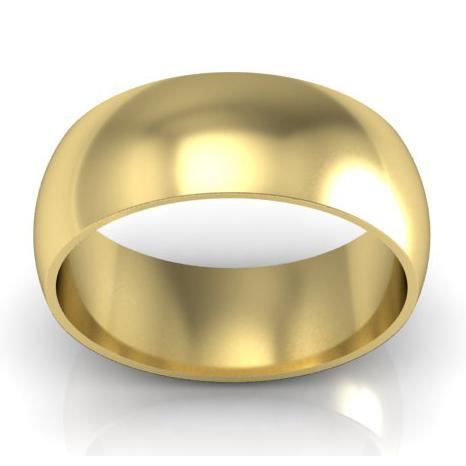 Domed Wedding Ring in 14kt 8mm