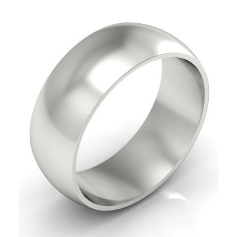 Domed Wedding Ring in 14kt 8mm Plain Wedding Rings deBebians