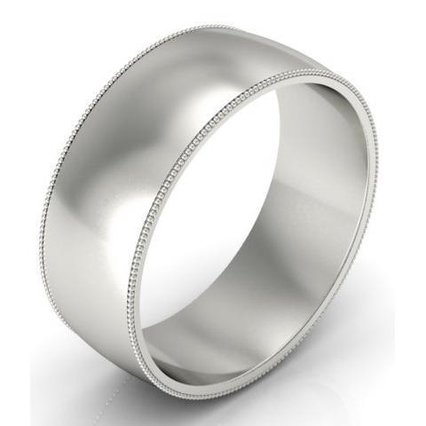 8mm Milgrain Wedding Band in 18k Plain Wedding Rings deBebians