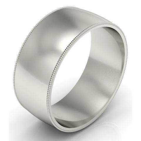 9mm Platinum Wedding Band Milgrain