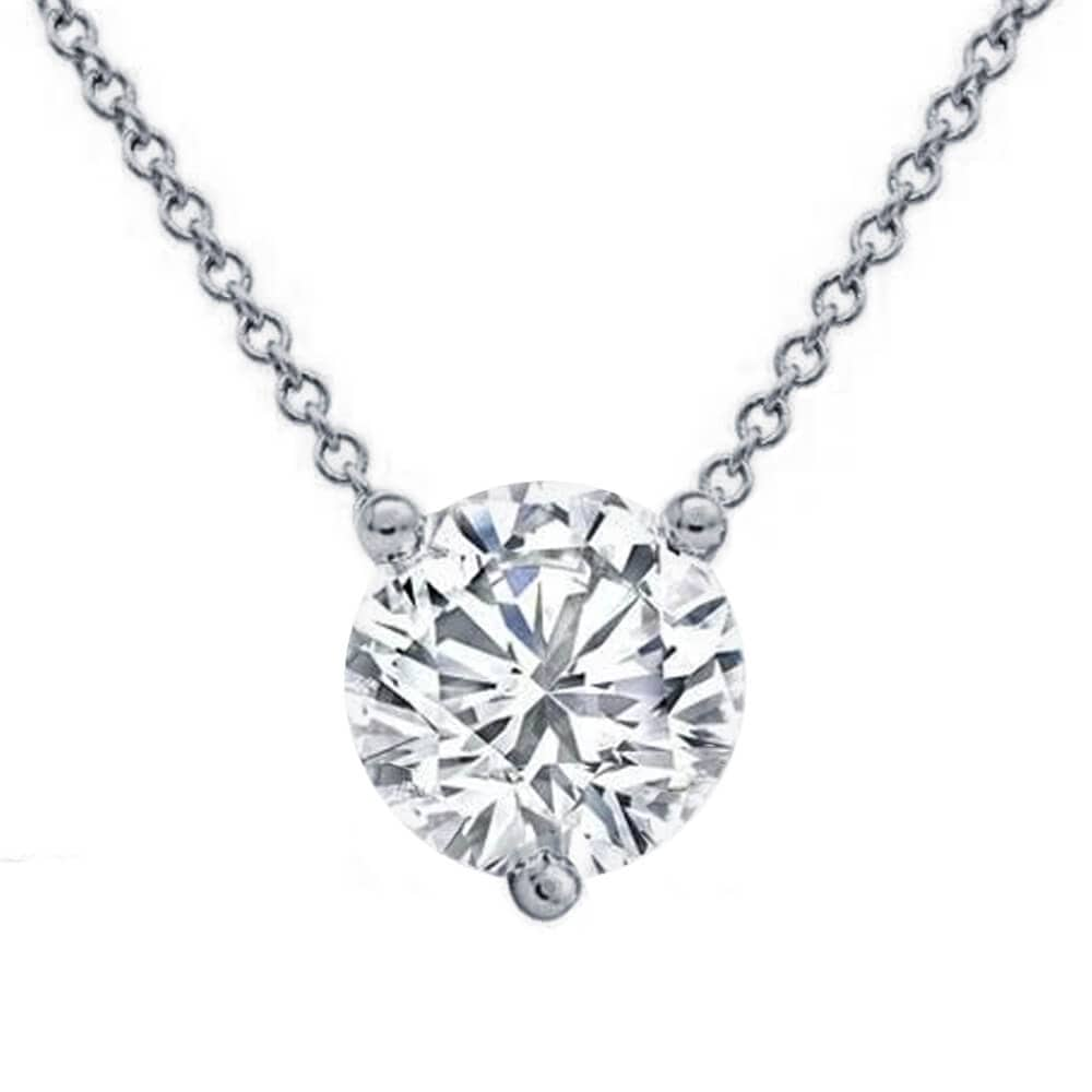 Floating Diamond Solitaire Three Prong Pendant Necklace