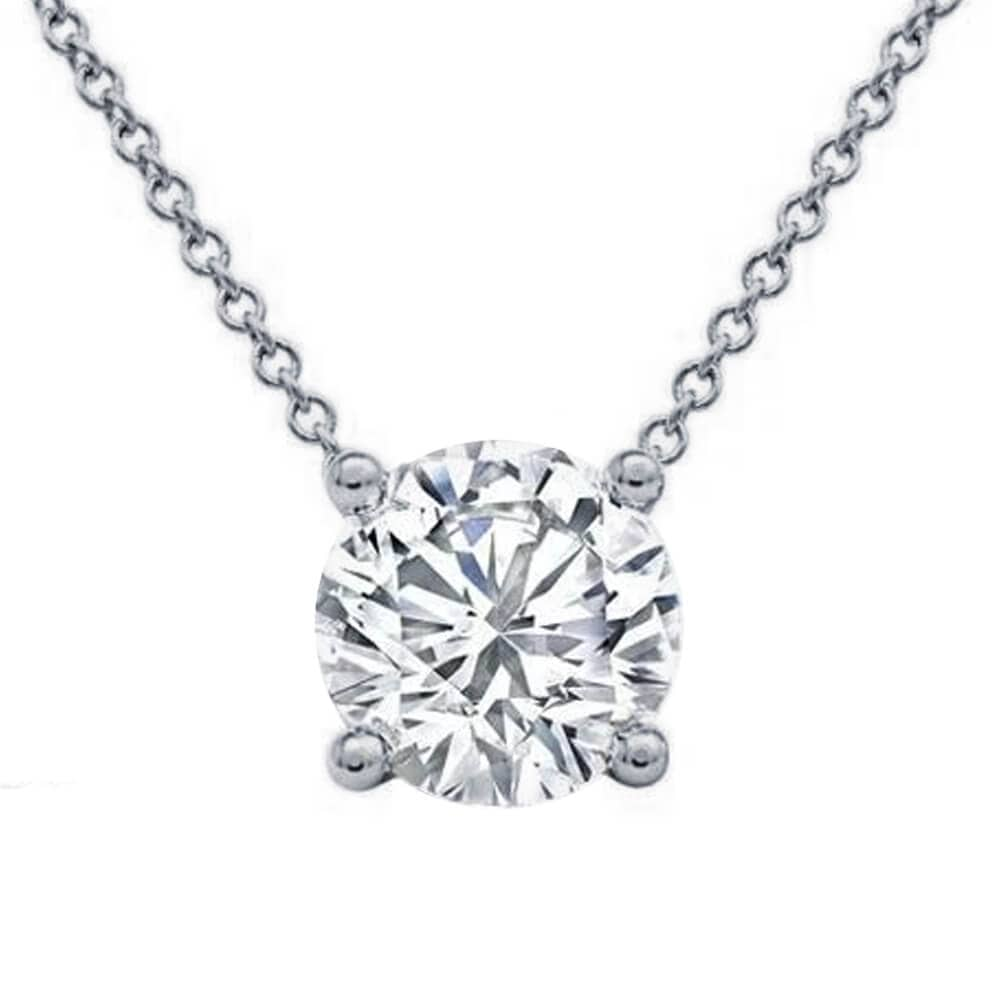 Floating Lab Created Diamond Solitaire Four Prong Pendant Necklace