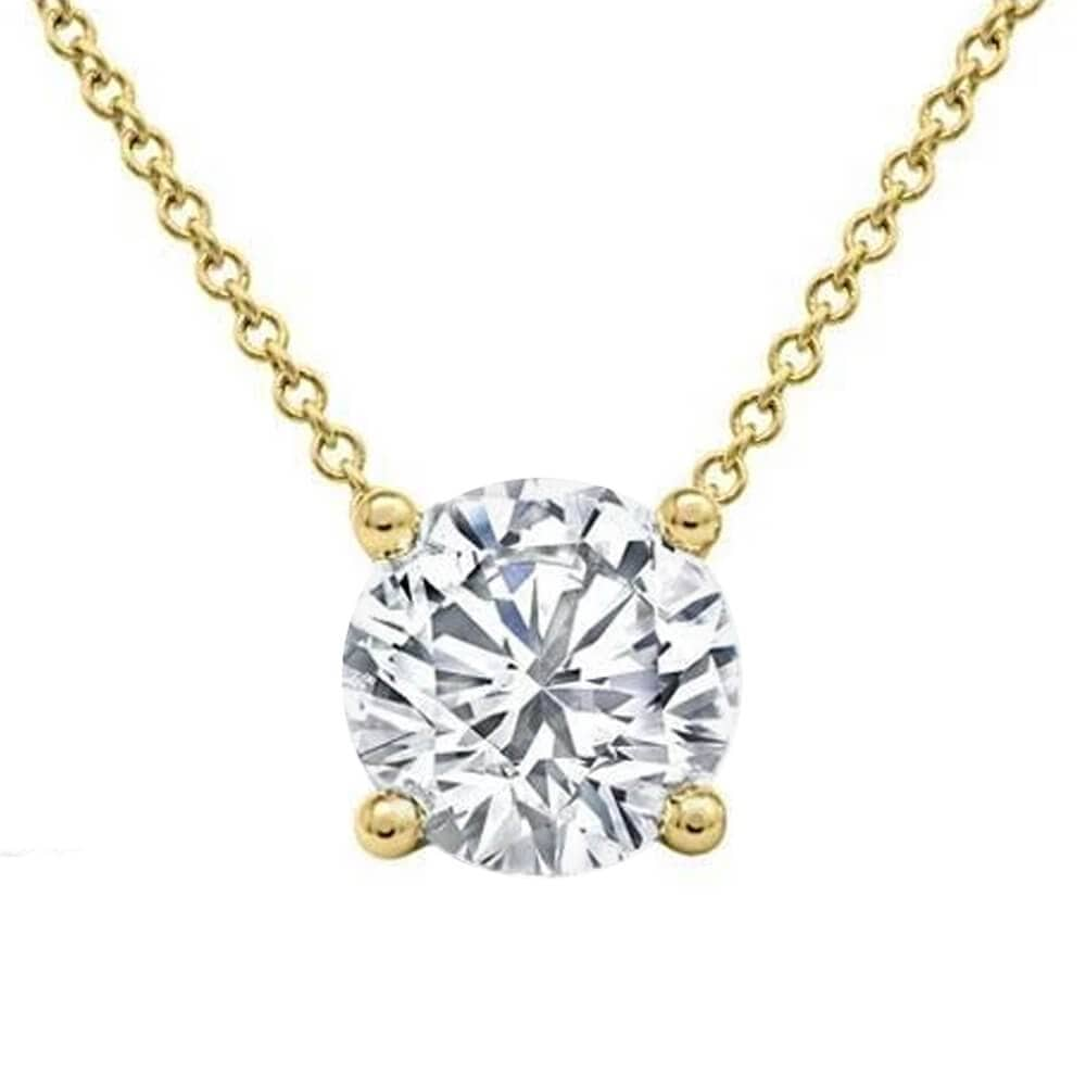 Floating Diamond Solitaire Pendant Necklace
