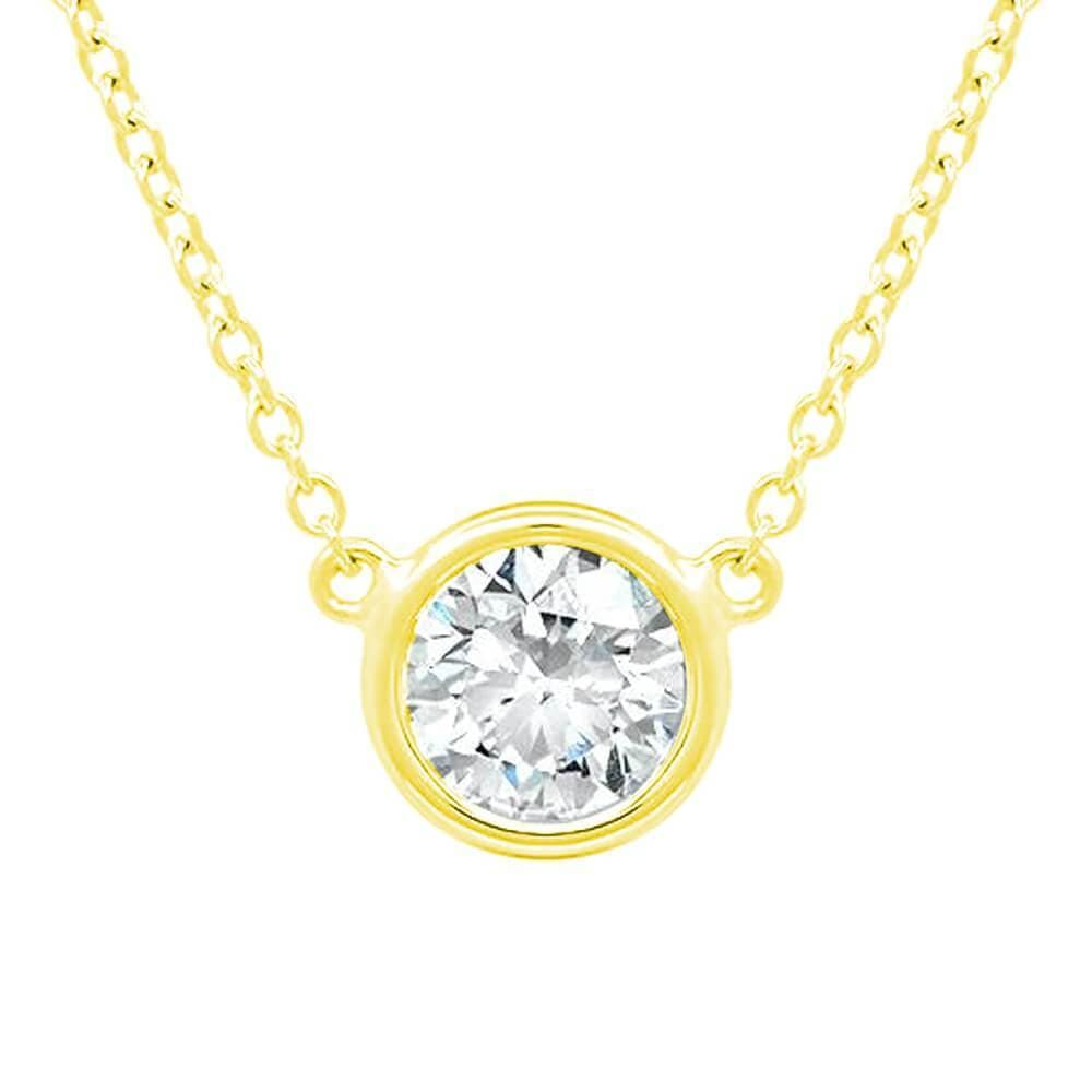 Floating Lab Created Diamond Solitaire Bezel Pendant Necklace