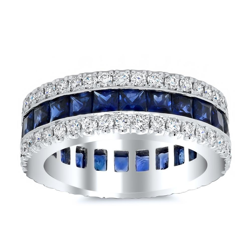Sapphire or Ruby Baguette Eternity Ring with Pave Accents Gemstone Eternity Rings deBebians 14k White Gold Blue Sapphire