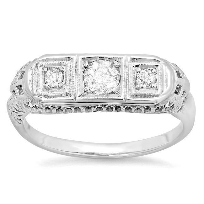 Three Stone Art Deco Engagement Ring 0.40cttw 14kt White Gold Ready-To-Ship deBebians