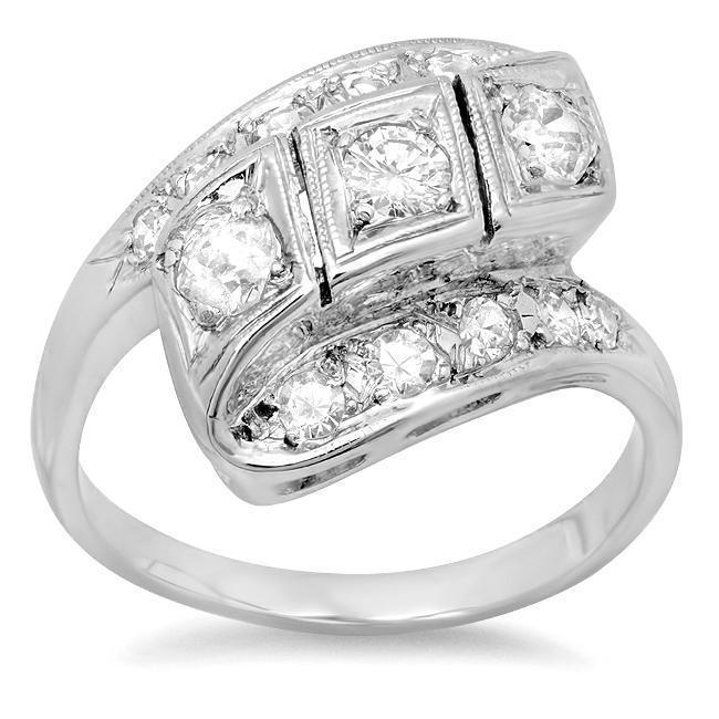 Antique Style Bypass Diamond Ring 14kt White Gold 0.85cttw Ready-To-Ship deBebians