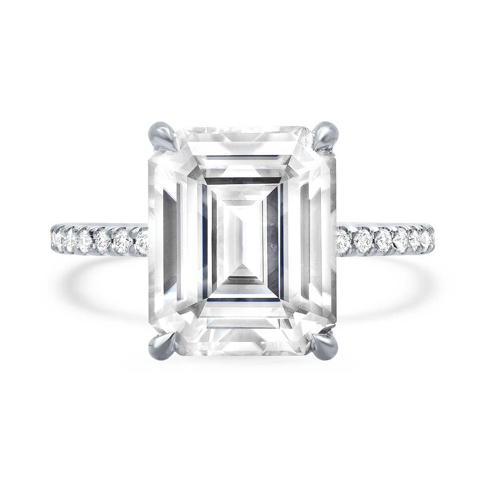 Charles & Colvard Emerald Cut Forever One Thin Pave Engagement Ring