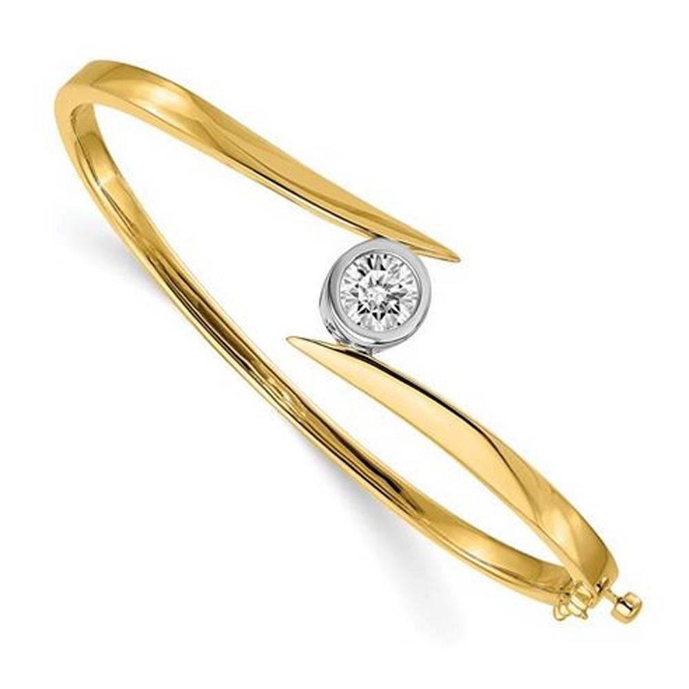 14kt Solid Gold Bangle Bracelet with 6.5mm Round Forever One Moissanite Bracelets deBebians