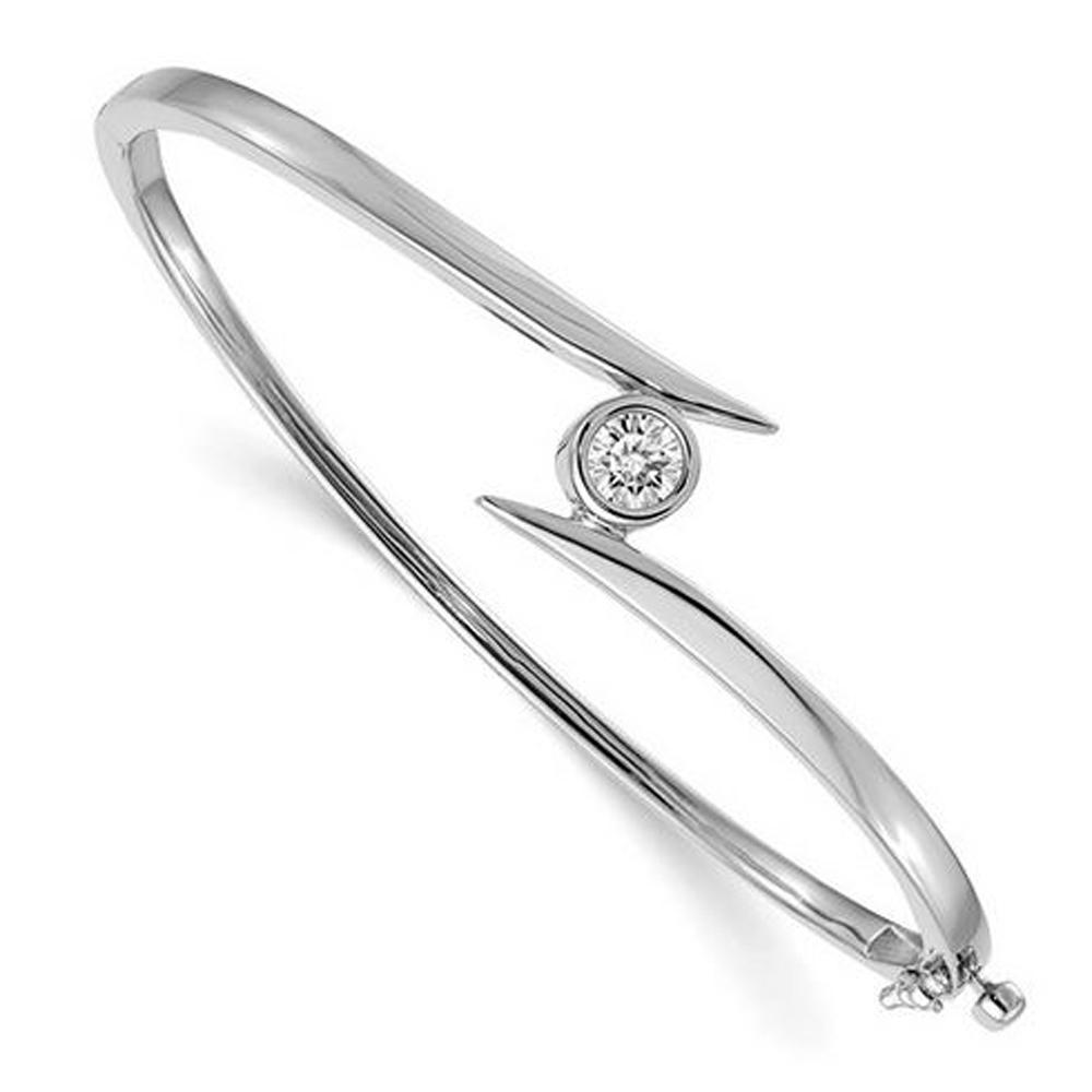 14kt White Gold Forever One Round Moissanite Bangle Bracelet Bracelets deBebians