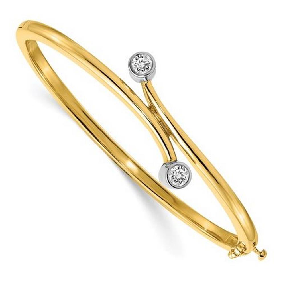 14kt Two Tone Gold Bangle Bracelet with 4mm Round Forever One Moissanite Bracelets deBebians