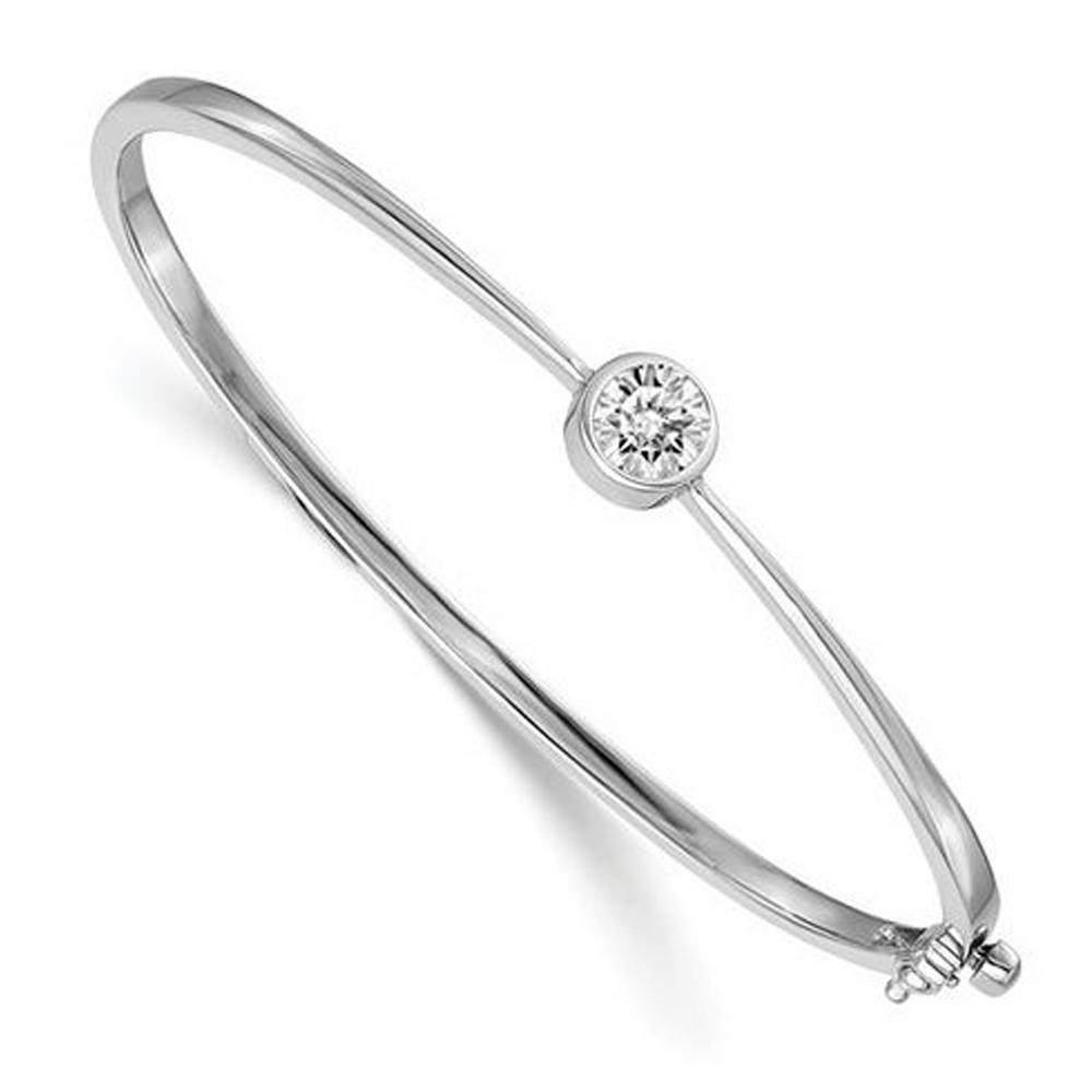 Forever One Moissanite 6.5mm Round Forever One 14kt White Gold Bangle Bracelets deBebians