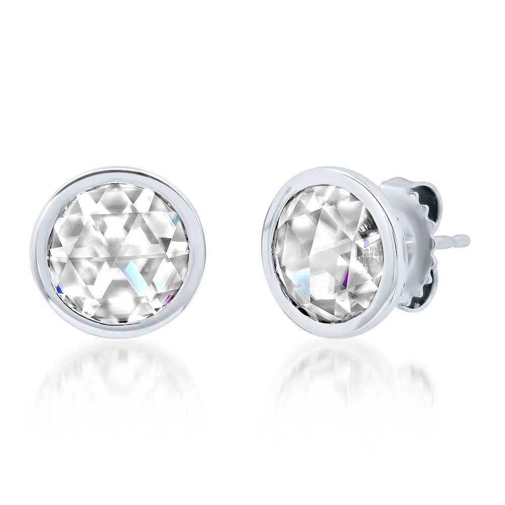 Rose Cut Earrings with 8mm Charles & Colvard Moissanite Forever One Earrings deBebians