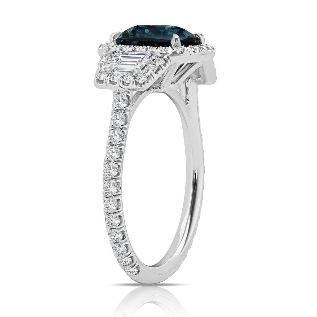 Grey Spinel Diamond Halo Three Stone Ring 14kt White Gold Ready-To-Ship deBebians