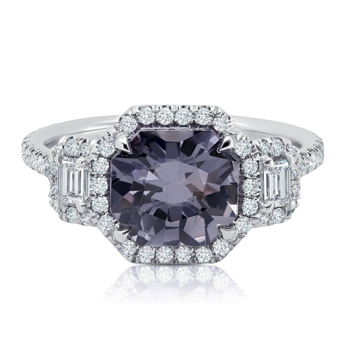 Grey Spinel Diamond Halo Octagonal Three Stone Ring 14kt White Gold Ready-To-Ship deBebians