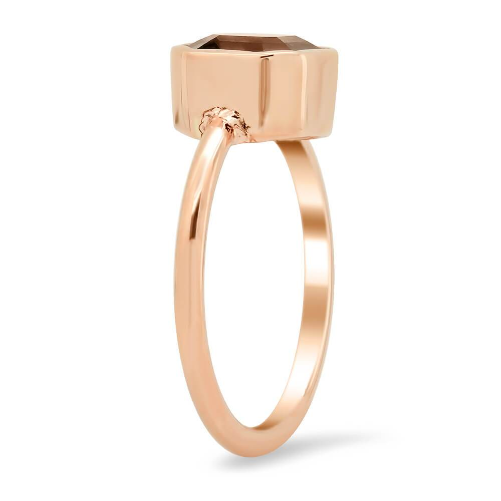 Asscher Grey Spinel & Rose Gold Solitaire Ring Ready-To-Ship deBebians