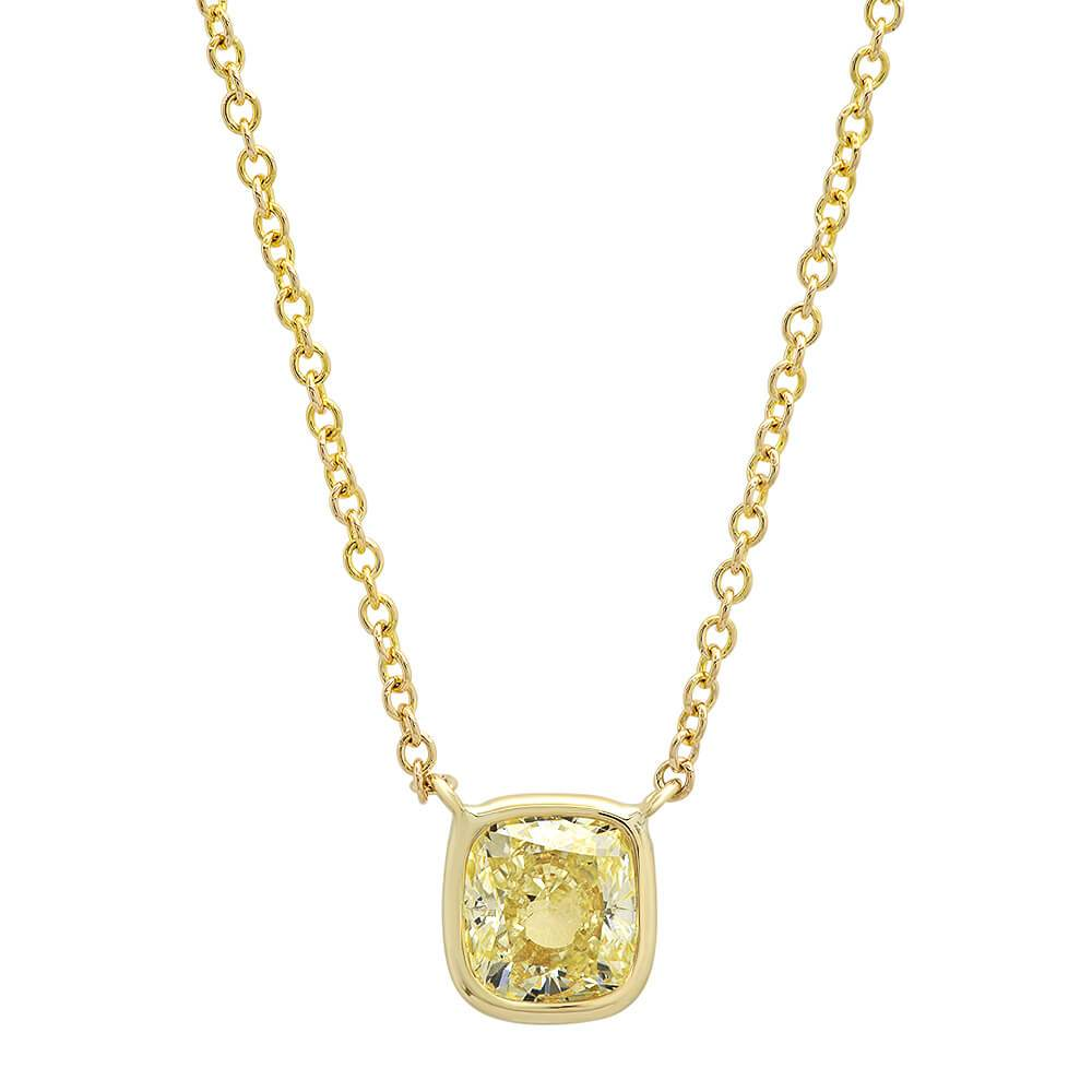 Cushion Yellow Diamond Pendant in 14kt Yellow Gold Ready-To-Ship deBebians