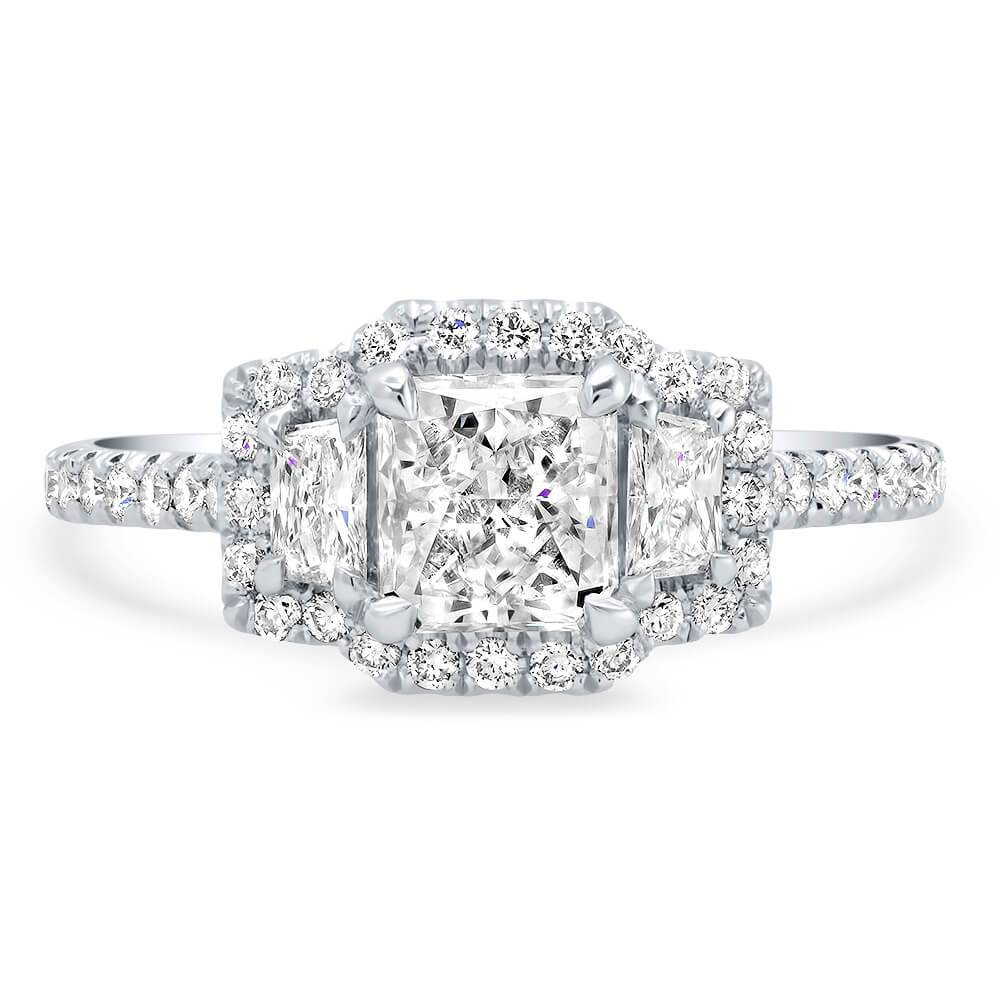 GIA Certified Radiant Cut Diamond Three Stone Halo Engagement Ring Ready-To-Ship deBebians