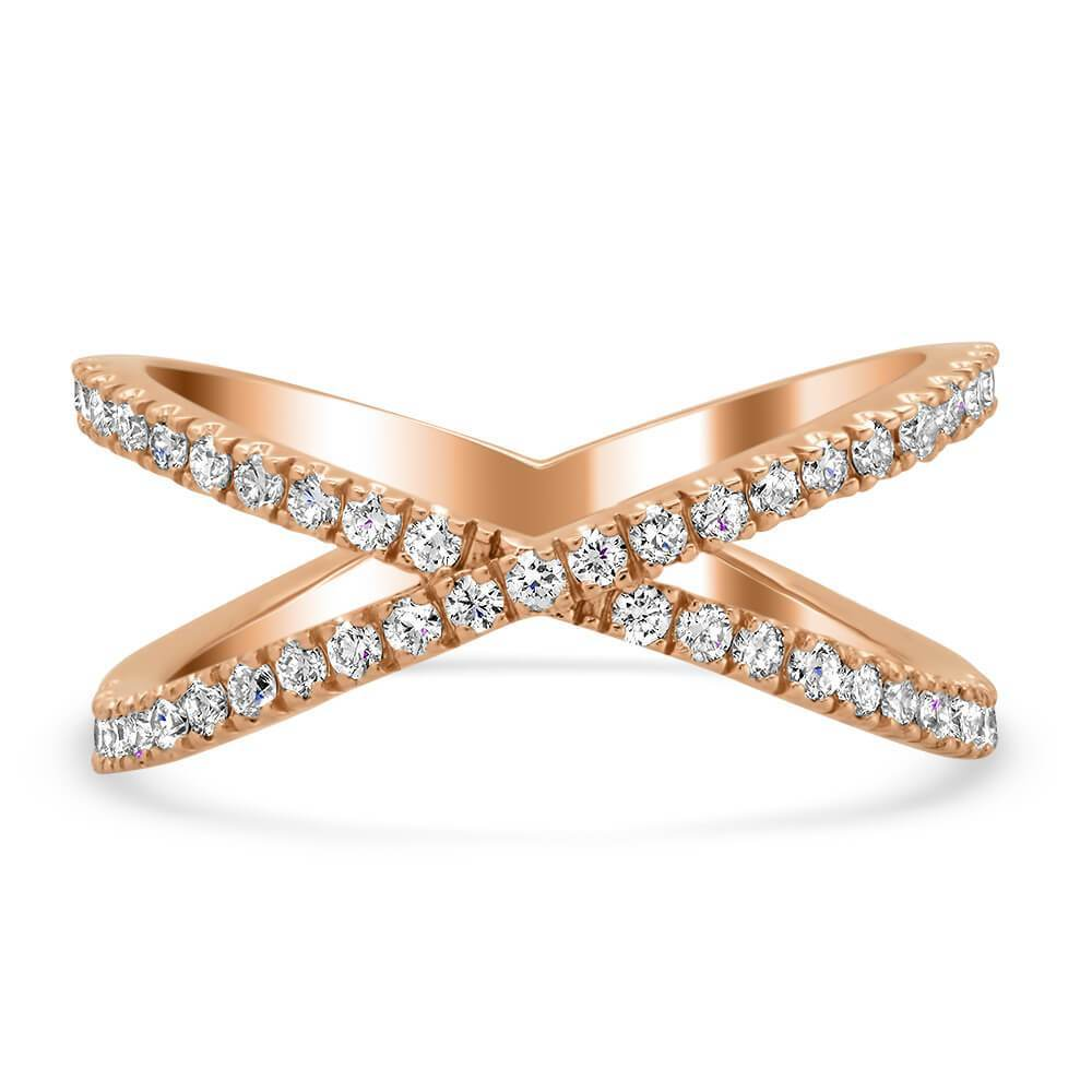 Pave Diamond X Ring in 14kt Rose Gold Ready-To-Ship deBebians