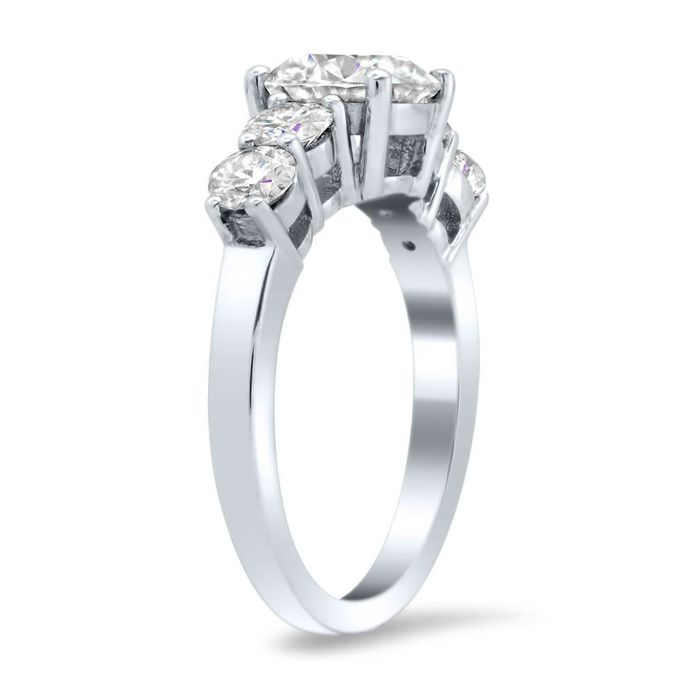 Five Stone Moissanite Forever One Engagement Ring Ready-To-Ship deBebians