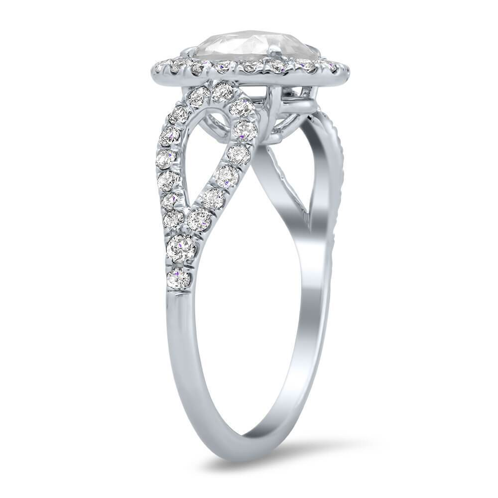 Rose Cut Moissanite with Diamond Accented Engagement Ring Ready-To-Ship deBebians