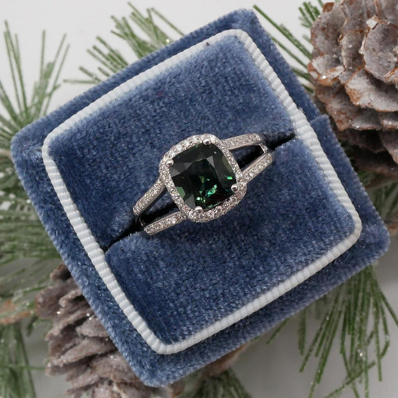 Green Sapphire Cushion Cut Diamond Halo Engagement Ring Ready-To-Ship deBebians