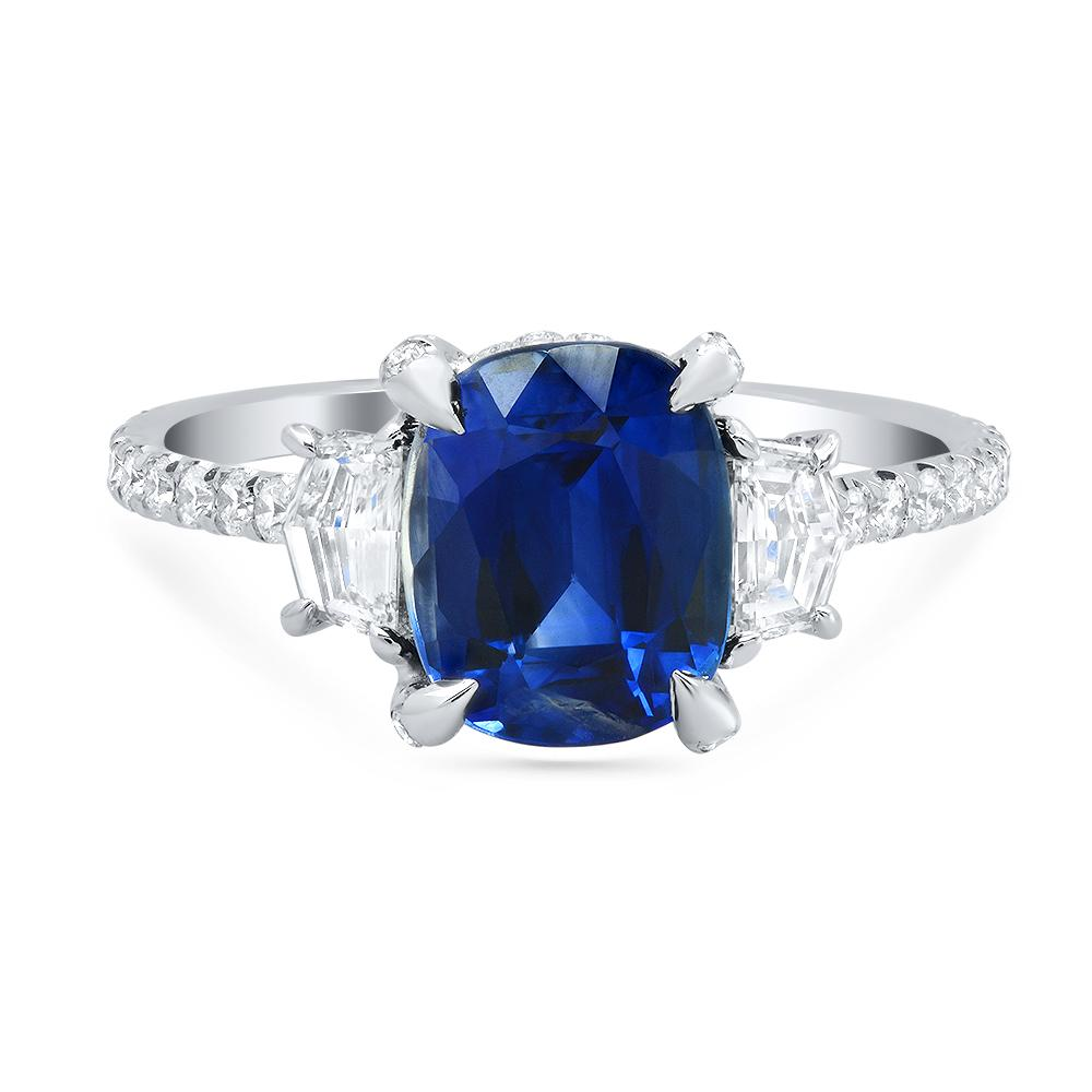 Cushion Blue Sapphire and Diamond Three Stone Ring Ready-To-Ship deBebians
