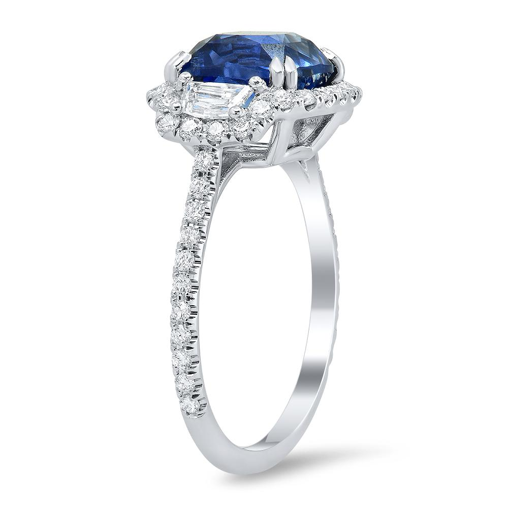 Natural Blue Sapphire & Diamond Three Stone Pave Ring Ready-To-Ship deBebians