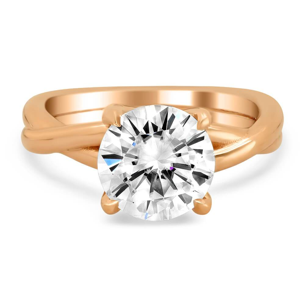 Solitaire Engagement Ring with Entwined Band Solitaire Engagement Rings deBebians
