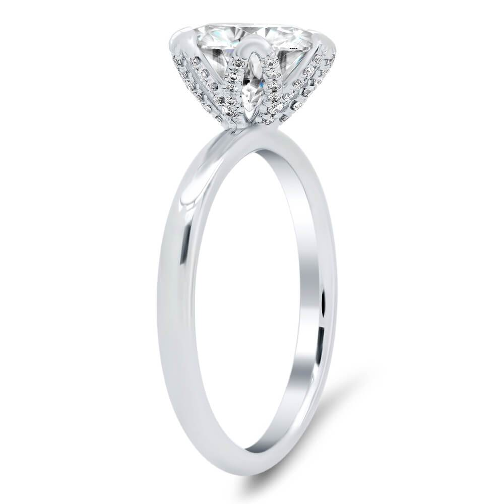 Diamond Pave Tulip Engagement Ring Setting Solitaire Engagement Rings deBebians 14k White Gold With Pave Basket (+$475)