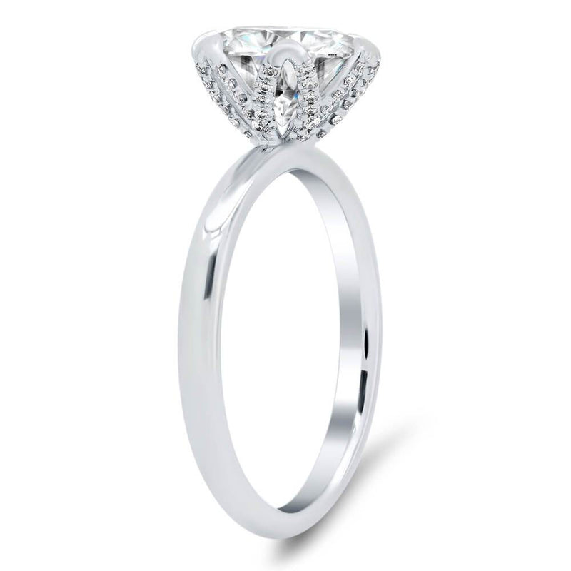 Tulip Solitaire Engagement Ring Setting Solitaire Engagement Rings deBebians 14k White Gold With Pave Basket (+$475)