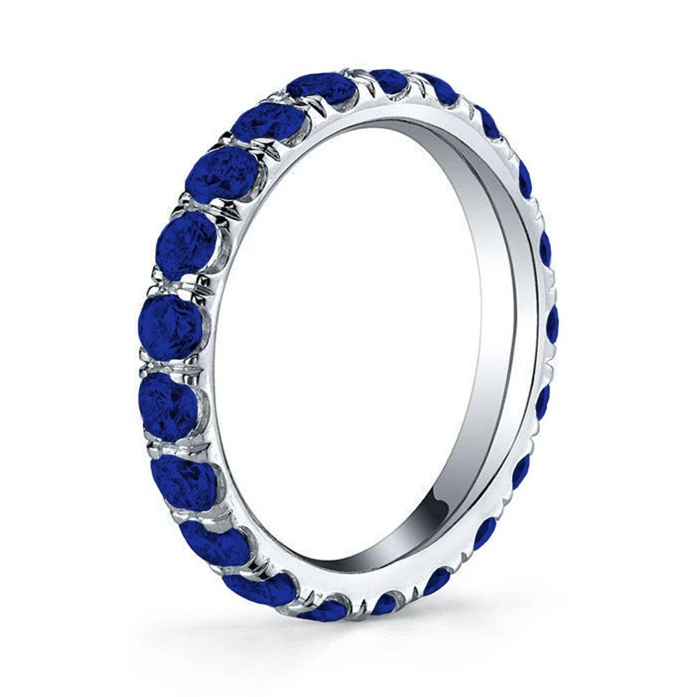 Blue Sapphire U-Pave Set Eternity Band Gemstone Eternity Rings deBebians