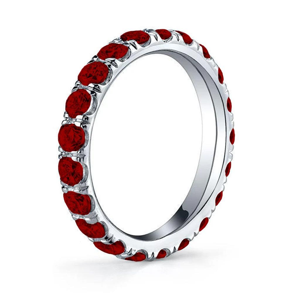 U-Pave Set Ruby Eternity Band Gemstone Eternity Rings deBebians
