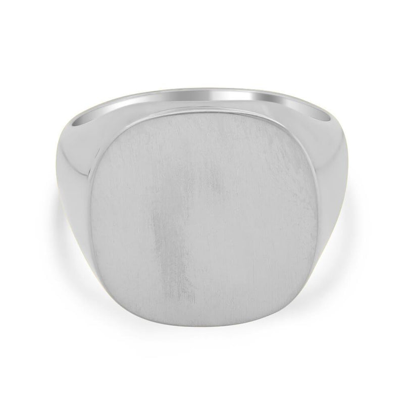 Men's Square Signet Ring - Large Signet Rings deBebians Sterling Silver Solid Back