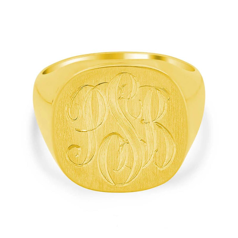Family Crest Style Shield Signet Ring - 16mm x 15mm