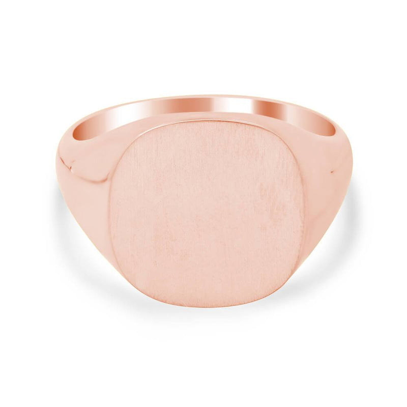 Men's Square Signet Ring - Medium Signet Rings deBebians 14k Rose Gold Solid Back