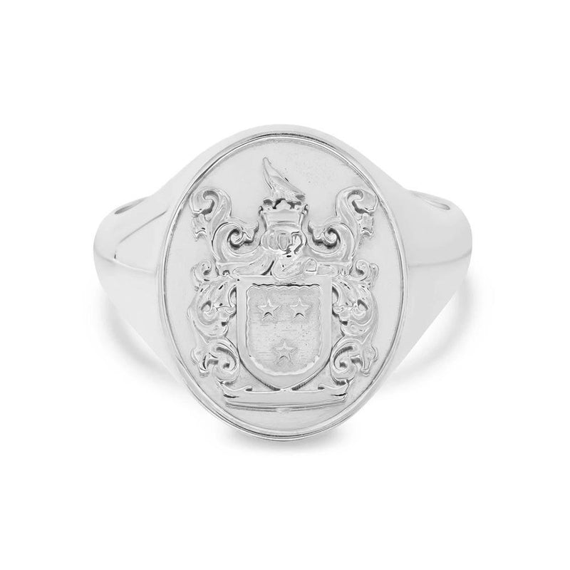 Oval Raised Family Crest Signet Ring Signet Rings deBebians Sterling Silver