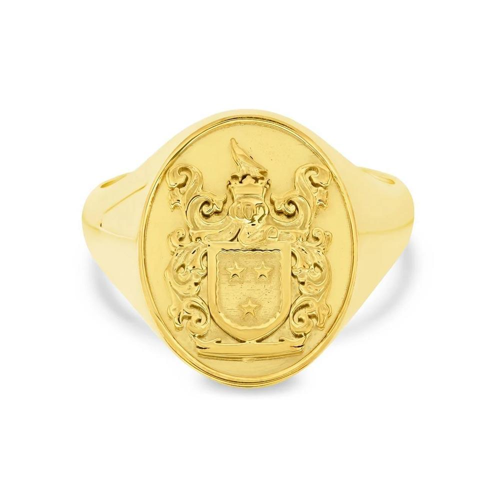Oval Raised Family Crest Signet Ring Signet Rings deBebians 14k Yellow Gold