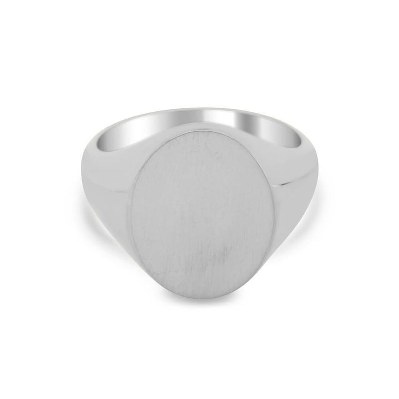 Women's Oval Signet Ring - Large Signet Rings deBebians Sterling Silver Solid Back