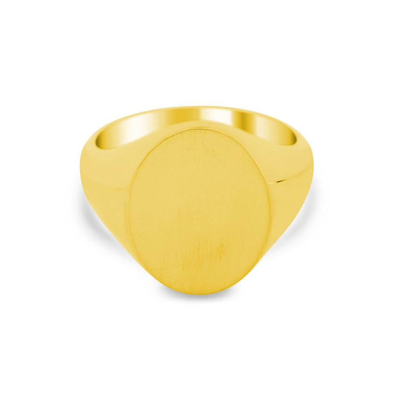Women's Oval Signet Ring - Large Signet Rings deBebians 14k Yellow Gold Solid Back