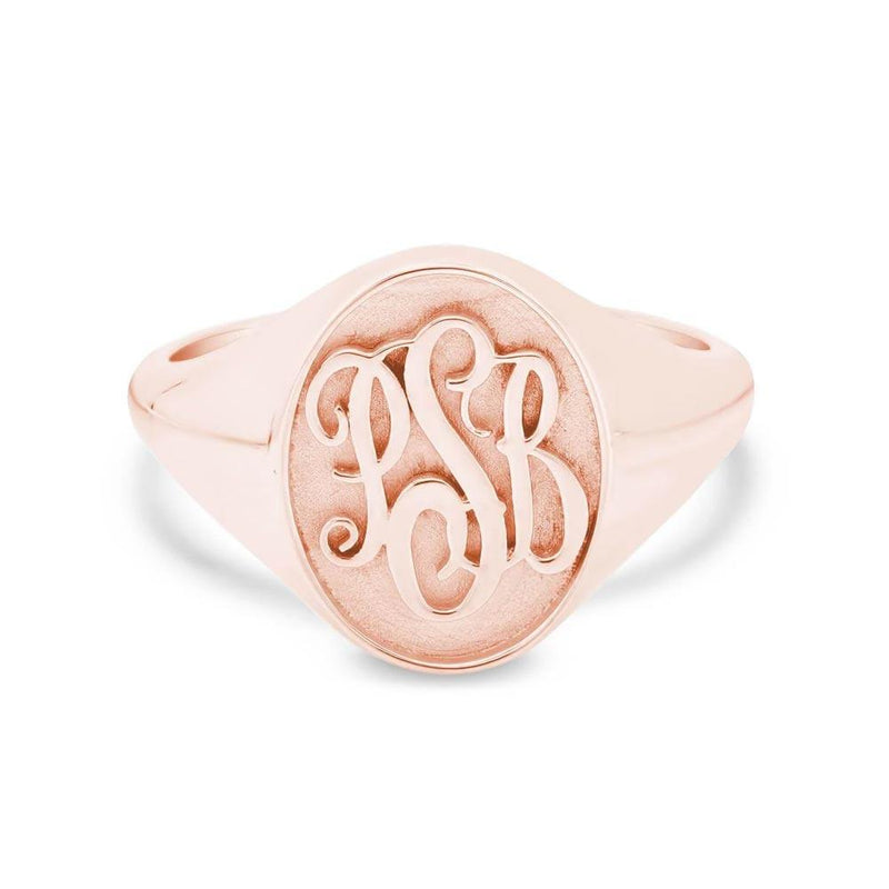 Raised Monogram Signet Ring for Women Signet Rings deBebians 14k Rose Gold