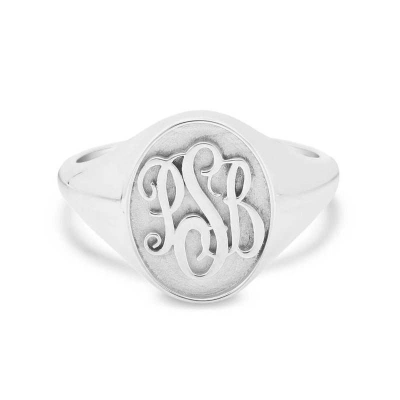 Raised Monogram Signet Ring for Women Signet Rings deBebians Sterling Silver