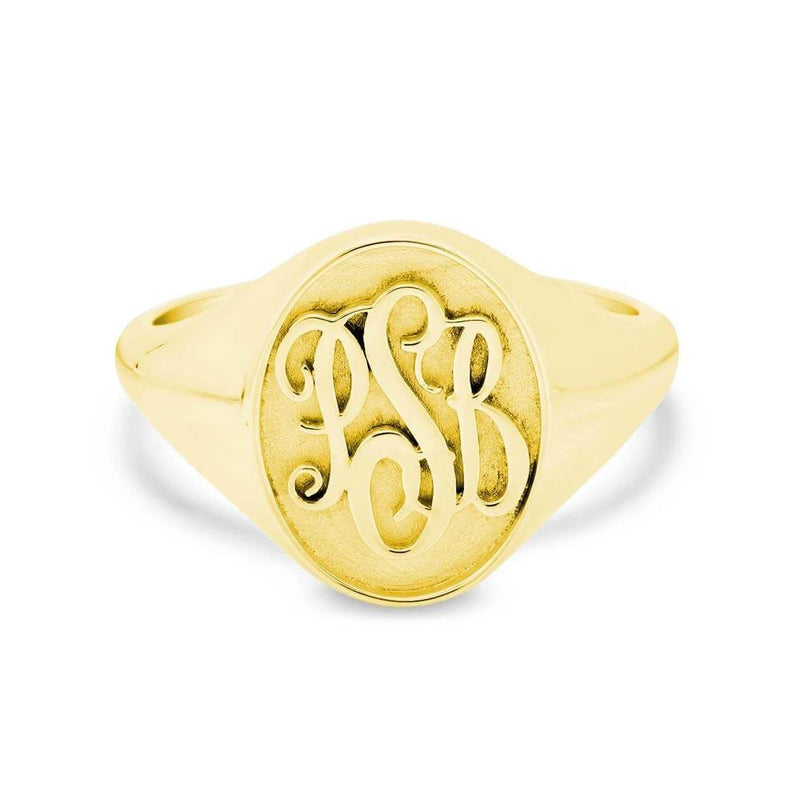Raised Monogram Signet Ring for Women Signet Rings deBebians 14k Yellow Gold