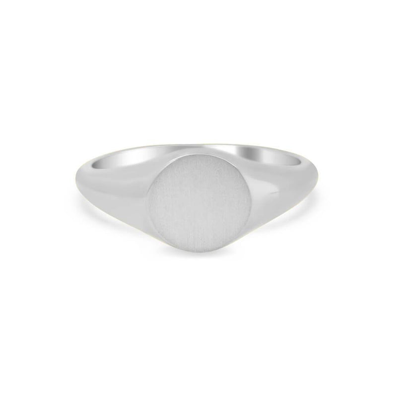 Women's Round Signet Ring - Extra Small Signet Rings deBebians Sterling Silver Solid Back