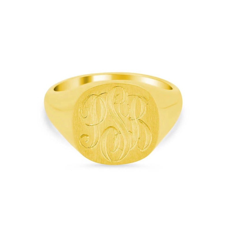 Wide Rectangular Signet Ring for Women - 12mm x 7mm