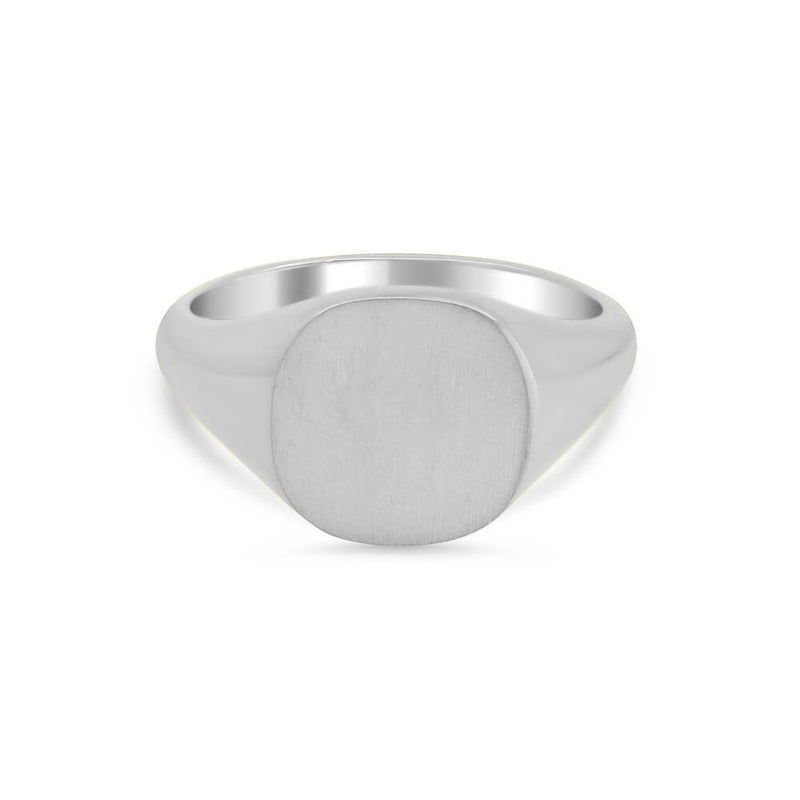Women's Square Signet Ring - Medium Signet Rings deBebians Sterling Silver Solid Back