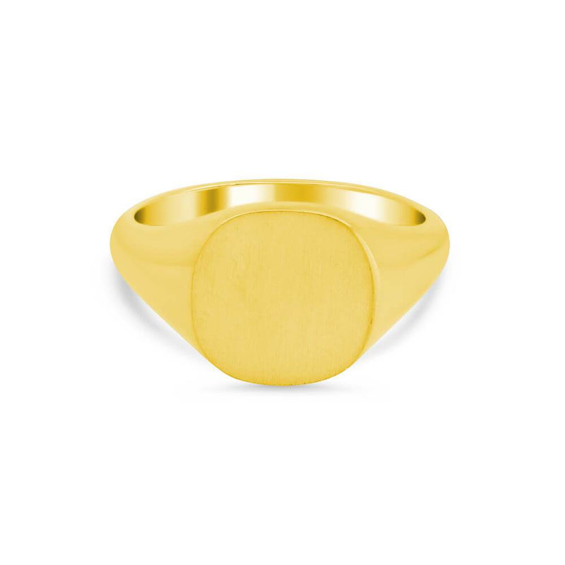 Women's Square Signet Ring - Medium Signet Rings deBebians 14k Yellow Gold Solid Back