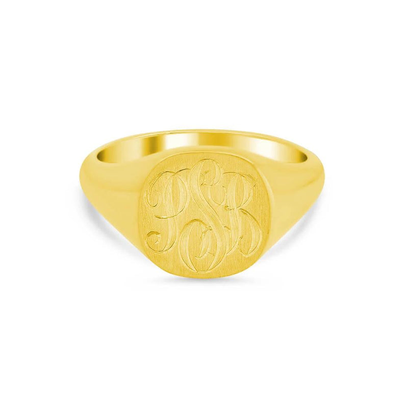 Double Heart Shaped Signet Ring - 8mm x 8mm
