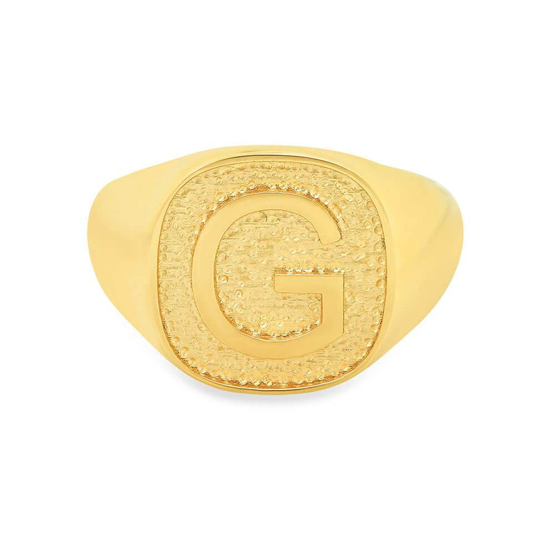 Raised Monogram Signet Ring for Women