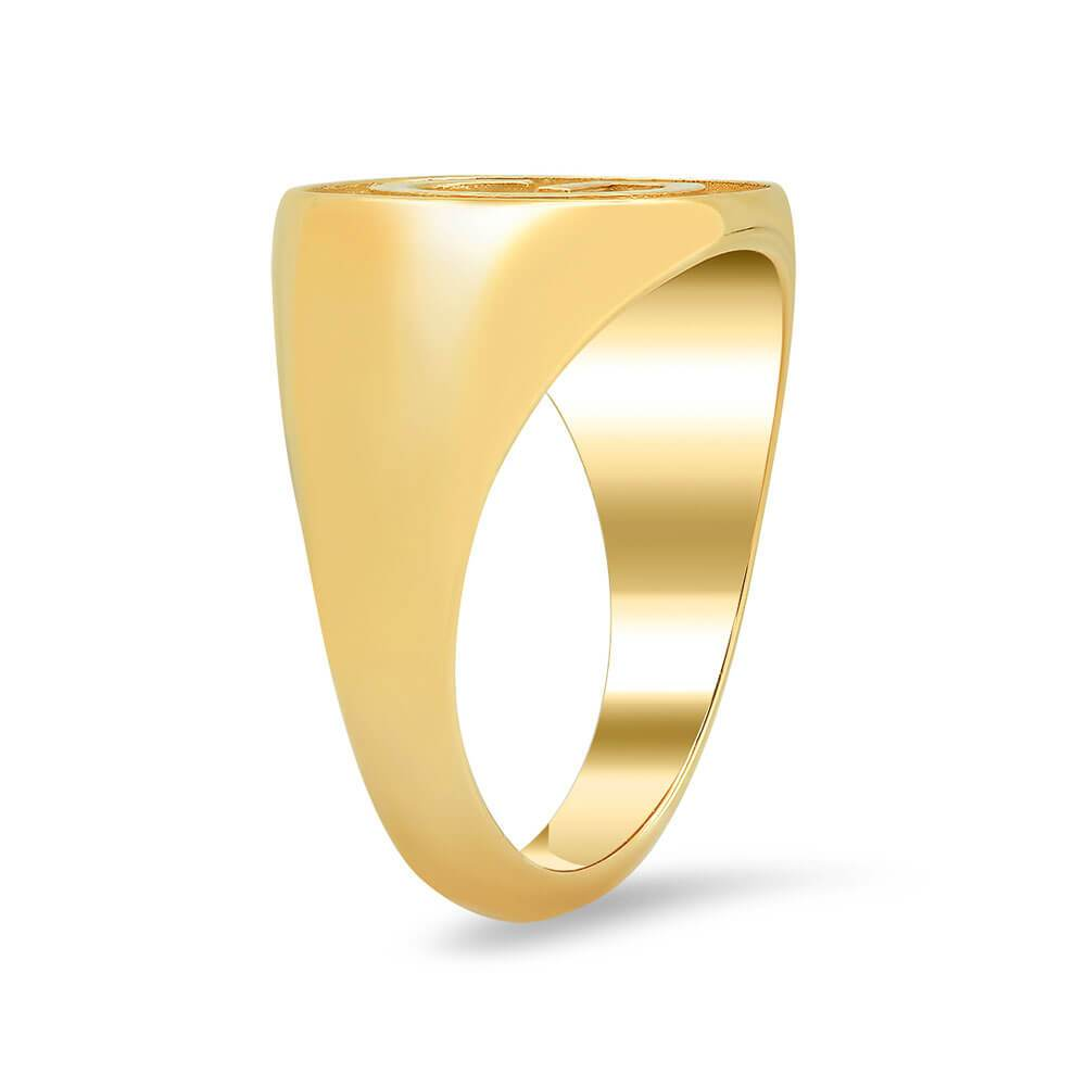 Single Initial Raised Women's Signet Ring Signet Rings deBebians